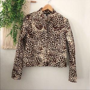 LAFAYETTE 148 Leopard Button Up Blazer Jacket